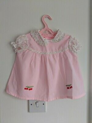 RETRO BABY vtg 1960s PINK EMBROIDERED FLORAL CHERRY RED SMOCK TOP 9-12 MONTHS