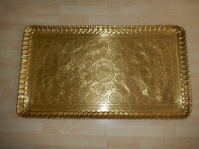 Islamic Damascus Persian Ottoman Cairoware Giant Huge Brass Arabesque Tray
