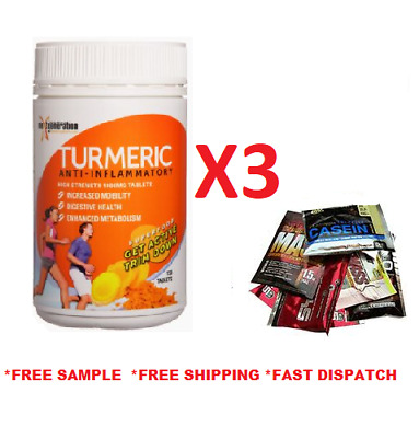 Tumeric 150Tabsx3  Organic High Strength 1000Mg Anti-Inflammatory Curcumin Glute