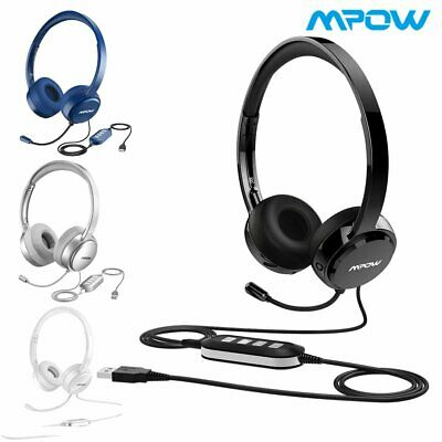 20759f2b127 Mpow USB Headset 3.5mm Computer Noise Cancelling Wired Business Mic  Headphones