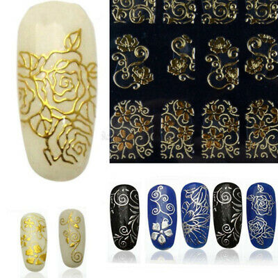 108*3D Nail Art Stickers Decals Wraps Transfers Metallic Gold Silver Lace Flower