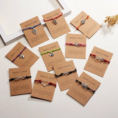 Make A Wish Charm Card Friendship String Bracelet Women Bangle Party Wedding