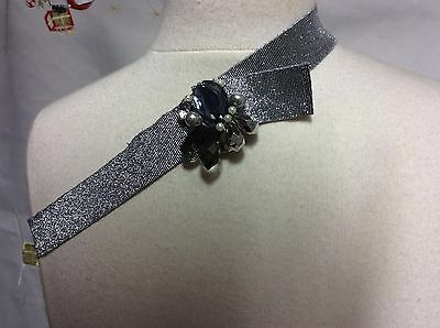 Bnwt Miss Grant Silver Elastic Belt With Gems Age 8-10