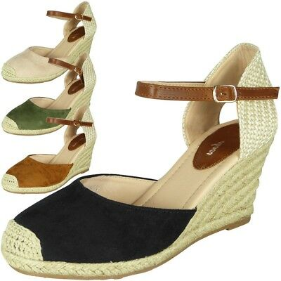 Womens Ladies Ankle Strap Espadrilles Hessian Shoes Mid Heel Wedge Sandals Size