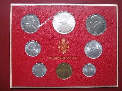 Vatican City Papal State 1968 UNC 8 Coin Set Collection 1 - 500 Silver Lira card