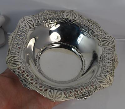 1891 Victorian Hallmarked Silver Pierced Three Footed Bowl or Dish