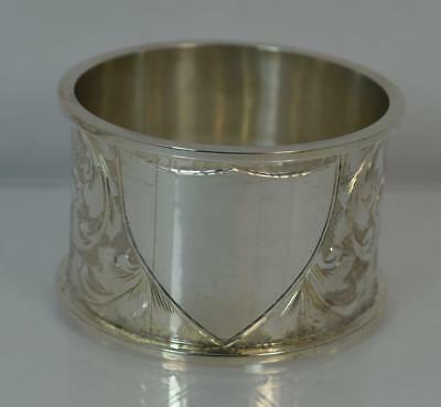 Edwardian Sterling Silver Napkin Ring with Blank Shield Cartouche