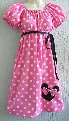 Minnie Mouse Appliq.60's 70's Insprd. Lady Dress Size S M L XL Cotton Mult-Col