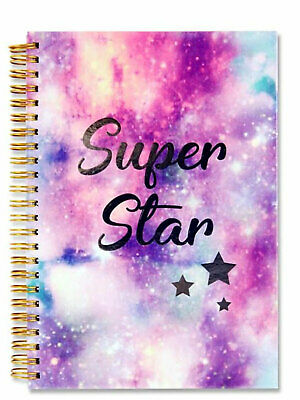 A5 Notebook Hard Back Spiral Wiro Bound Writing Jotter Notes Super Star Cover