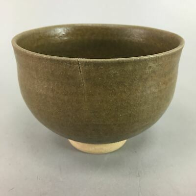 Japanese Tea Ceremony Bowl Ceramic Chawan Vtg Pottery Green Round GTB465
