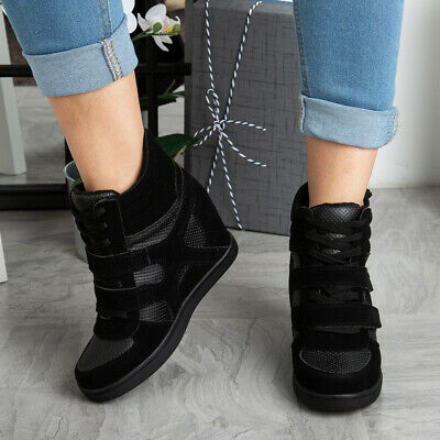 New Womens Lace Up Sneakers Trainers Hidden Wedge Heel Ladies Ankle Boots