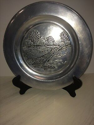 """Wilton Columbia Armetal RWP Pewter 11"""" Plate Charger Vntg Erie Barge Canal 1825"""