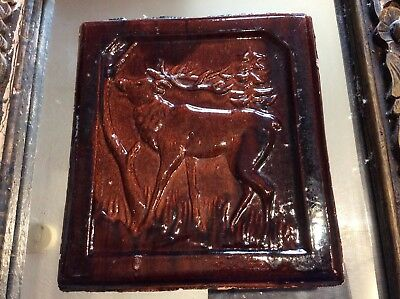 Vintage Tile Majolica With Stag Detail