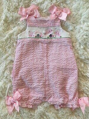 a66b69405 Mud Pie Girls 9-12M Easter Smocked Bubble 1-piece Romper Pink Seersucker  Bows