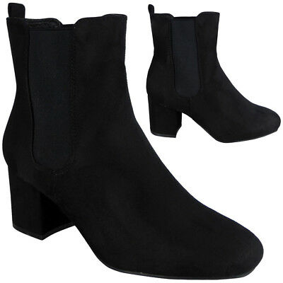 Womens Ladies Chelsea Ankle Boots Faux Suede Low Cuban Heel Stretch Shoes Size