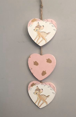 Bambi Wooden Hanging Heart Plaques Hanging Decoration nursery kids decor gift