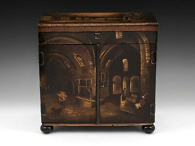 Antique victorian papier mache painted sewing jewellery table cabinet circa 1845