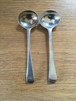 Pair Of Antique Solid Silver Old English Pattern Salt Spoons London 1815