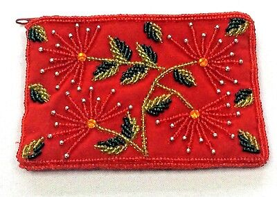 Coin Purse Beaded Red Sequin Flower Rectangular Pohutukawa Caroline Mitchell