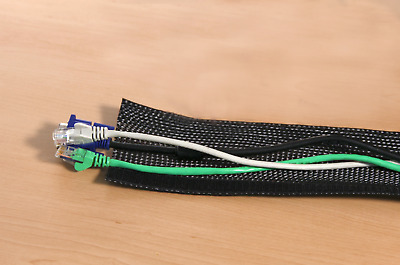 Hook & Loop Braided Flexo Cable Wrap | Cable Organisation, Tidy Cables - 13mm