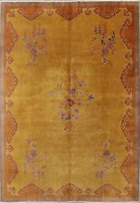 Art Deco Chinese Antique Rug Wool Hand-Knotted Floral Oriental Area Rug 10 x 13