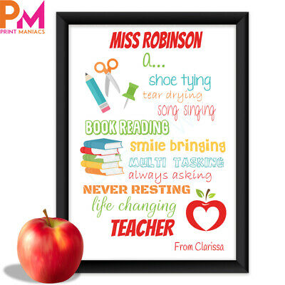 Personalised Teacher THANK YOU Print Frame Gift Class Leaving Present nursery