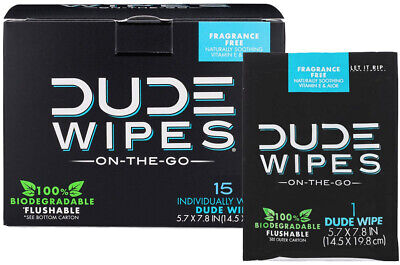 DUDE Wipes Individually Wrapped Flushable Wet Wipes Unscented 45 Ct.