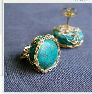 18K Gold Plated Turquoise Ear Stud Women Earrings Wedding Engagement Jewelry