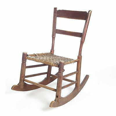 Antique rocking chair child primitive wood caned seat doll vtg farmhouse 19th c