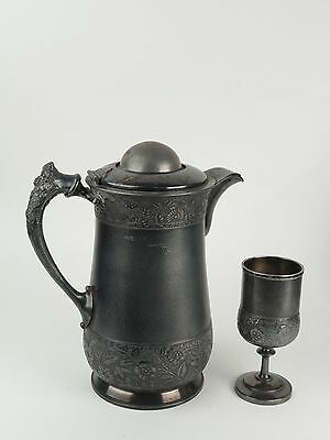 Silver plate insulated pitcher antique Rogers Bro triple ice water goblet 218