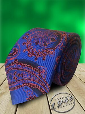 Royal Blue with Red and Black Paisley Mens Tie