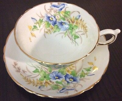 Beautiful Paragon Wide Footed Cup Saucer A1848 Floral Bouquet~Blue~Gold~England