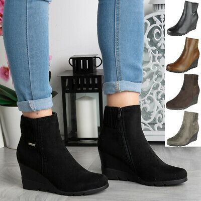 Ladies Ankle Boots Women Faux Suede Sock Detail Mid Heel Zip Wedge Shoes Size