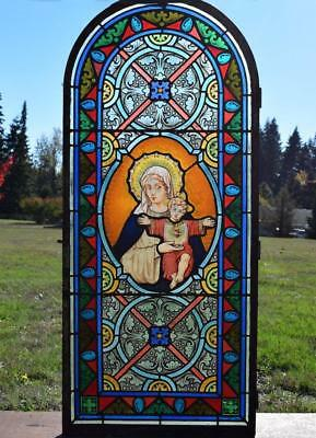 "*Antique French Stained Glass Panel w/Leaded Glass ""Mary and Jesus"" Religious"
