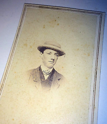 Antique Young Southern Dandy / Dapper Gentleman W/ Wonderful Hat Old CDV Photo!
