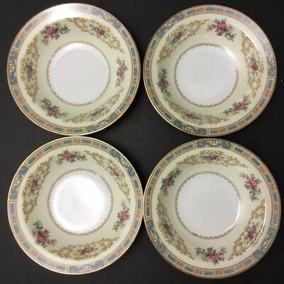Noritake China Colby Blue 5032 ~4 Nappies~Nut Dishes~Bowls~Japan~Floral~Roses