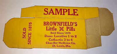 Antique Brownfields Little Pills  Advertising Medicine Paper Sample Box! C.1920