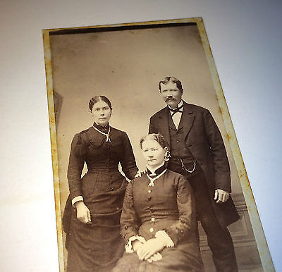 Antique Beautiful Victorian Family, Fancy Jewelry, West Liberty, Iowa CDV Photo!