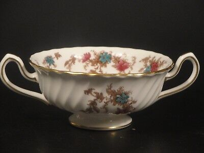 Minton Fine Bone China*Ancestral Cream Soup 2 handledHBowl Made in England