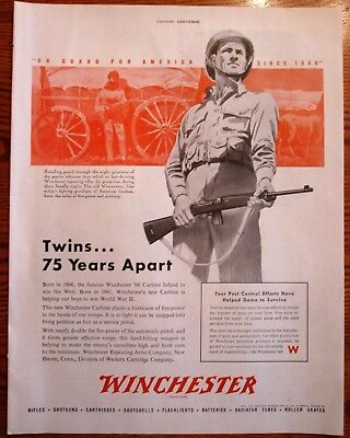 Winchester 1866 Carbine, Won the West, 1941 Carbine WWII Winchester Arms Ad