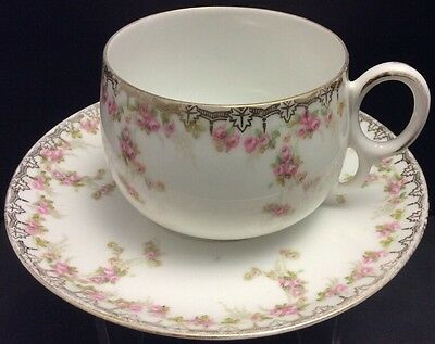 Vntg Mz Austria China Alexandra-Rosy Pattern Cup Saucer(S)~Buds~Roses~Pink~Gold