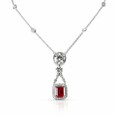 ROBERTO COIN CERTIFIED Burma Ruby & Diamond Necklace in 18K White Gold 5 77  CTW
