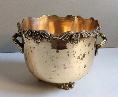 Vintage RIH Scalloped Edges Solid Brass Footed Planter Bowl with Handles