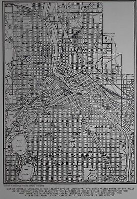 Vintage 1941 World War WWII OLD Atlas City Map of Minneapolis, Minnesota MN L@@K
