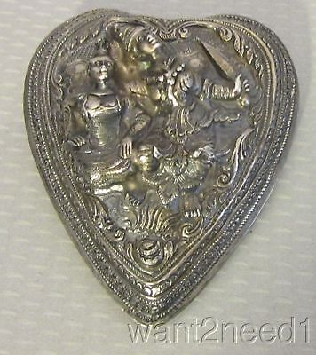 superb 19C antique SIAM STERLING SILVER REPOUSSE PUFFY HEART PIN xl huge 103g