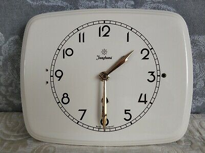 Two Vintage Art Deco style Ceramic Kitchen Wall clocks (One is Junghans)