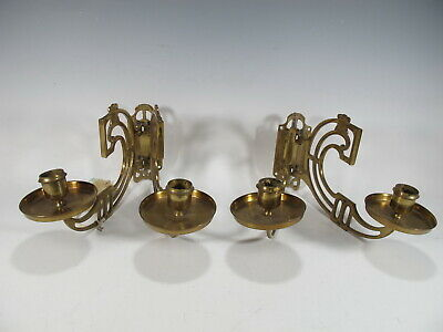 Vintage pair of gilded bronze piano sconces # 7075