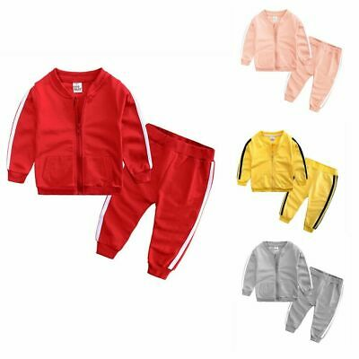 2Pcs Toddlers Kids Baby Boys Girls Sports Tracksuits Outfit Clothing Sets Zipper