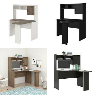 L SHAPED COMPUTER Desk With Hutch Corner Office Writing Table Black White  Wooden