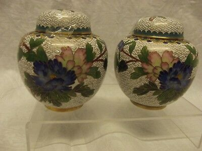 Pair of Chinese Cloisonne Lidded Ginger Jars